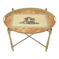 Italian Neoclassical Style Oval Tole Tray Table w/ Folding Metal Stand - circa 1960's, Italy