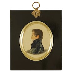 Miniature Portrait Regency Dandy Young Man Boy Framed Antique Profile Fashion - circa 1820's, England