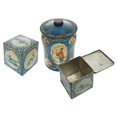 Set 3 Tin Canisters Delft Tile / Chinoiserie Tea Box Containers English / Dutch George Horner / Verblifa Krommenie Advertising