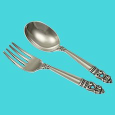 Sterling Silver Baby Fork Spoon Royal Danish Christening Gift Cloth Pouch - 20th C., USA