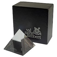 VSL Crystal Pyramid Paperweight Signed Original Box Val St. Lambert - 20th Century, Belgium