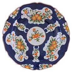 Worcester Dr. Wall Period Seal Mark Porcelain Dish Blue Scale Japanese Kakiemon - circa 1770, England