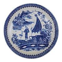 "Caughley Chinoiserie 7.5"" Dish Pleasure Boat Fisherman Blue White Transferware Georgian Pearlware - circa 1790, England"