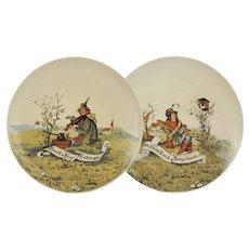 Antique Pair Musical Plates Villeroy & Boch Mettlach Bar Decor -  1874 - 1909 mark, Mettlach
