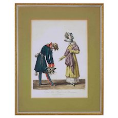 French Etching Russian Farewell to Parisienne after Vernet / Debucourt Fashion Costume Framed - 19th Century, France