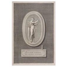 Engraving Woman with a Lyre after Campiglia / Iacobonus Matted Framed - 18th / 19th C., Italy