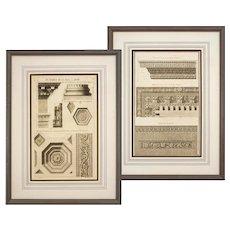 Pair Antique Greek Roman Architecture Engravings Framed
