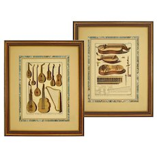 Pair Engravings Musical Instruments Matted and Framed after Diderot / Benard