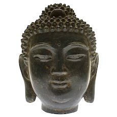 Antique Sino-Tibetan Bronze Buddha Head of Shakyamuni