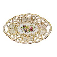 Old Paris Reticulated Oval Bowl Basket Corbeille White French Porcelain - 19th C., France