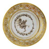 Locre de la Courtille Paris Porcelain Empire Plate Dish Grisaille Camaieu Gilded Mythology - circa 1800's, France