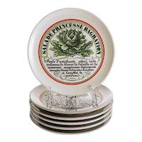 Six Assiettes a Crudites Porcelaine D'Auteil Paris Set Appetizer Salad Plates - 20th Century, France