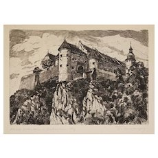 Etching Schloss Hellenstein Medieval Fortress Castle Matted Framed Germany