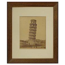 Antique Pisa Campanile Sepia Photograph Edizione Brogi Framed - circa 1890, Italy