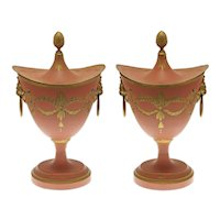 Pair French Tole Covered Chestnut Urns Regency Style Indian Red Painted Metal - post 1890, France