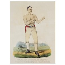 Currier & Ives Lithograph Bare Knuckle Boxing Champion Tom Sayers Framed - c. 19th C., USA