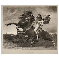 Automedon Horses Mythology Gravure Matted Framed - circa 1900, France / Philadelphia