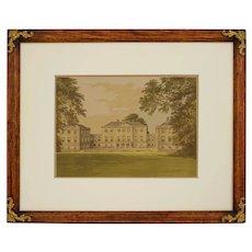 Nuneham Park Engraving Oxfordshire Palladian Villa Print Framed - circa 19th C., England