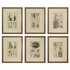 Set Six Engravings Antiquity Sculptures Bernard de Montfaucon Framed