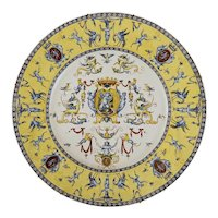 """17.5"""" Antique Gien French Faience Huge Wall Plate / Platter Renaissance Mythology Armorial - circa 1871 - 1875 mark, France"""