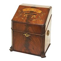 English Post Box Letter Mail Antique Inlaid Wood - 19th C., England