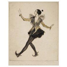 Art Deco Dancer Ronny Johansson (Polka) Max Pollak Dry Point Etching Framed - 1920's, Austria