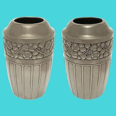 Pair Art Deco Period WMF Vases Silver Plate Ostrich Mark - pre 1925, Germany
