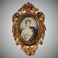 Antique Miniature Portrait of Lady in Florentine Gilt Frame - c. 19th Century, Italy