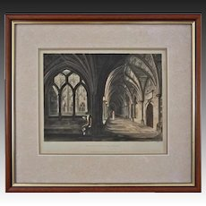 Westminster Abbey Cloisters Antique Aquatint / Etching London Architecture - early 19th Century, England