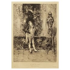 After Mariano Fortuny Etching Le Vase de Chine Framed - 19th Century, France