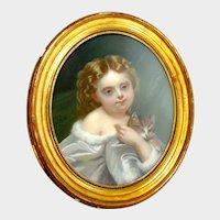 Antique French Pastel Painting Portrait of a Little Girl & her Cat, Signed & Framed