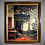 Listed Artist Arie J. Zwart Oil Painting of Dutch Interior View, Hague School