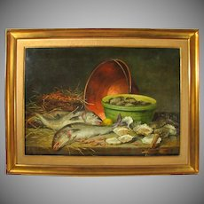 Superb Antique 19thc Belgian Painting Hunting Still Life Fish, Shrimp & Oysters, Listed Artist Charles De Naeyer