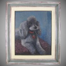 Geo Mommaerts Portrait of a Poodle Dog, Belgian Artist Impressionist Oil Painting, Dated