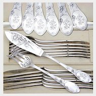 Antique French Sterling Silver 24pc Flatware Set Art Nouveau Pierced Fork & Knife Fish Service
