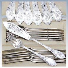 24pc Antique French Sterling Silver Art Nouveau Fork & Knife Fish Service Flatware Set