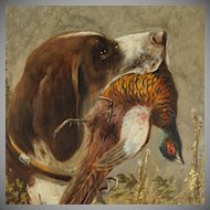 Antique German Hunting Scene Painting Moritz Müller (1841-1899) Munich Artist, Pointer Dog & Pheasant