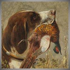 Antique German Hunting Scene Painting Moritz Müller (1841-1899) Munich Artist, Pointer Dog & Pheasant