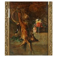 Antique Belgian Oil Painting, Fruits of the Hunt 'Nature Morte' Deer & Flowers by François-Joseph HUYGENS, Dated 1883