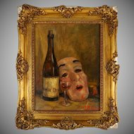 Still Life Painting of Theater Mask & Wine Bottle, Signed Oil on Canvas, Ornate Gilt Frame