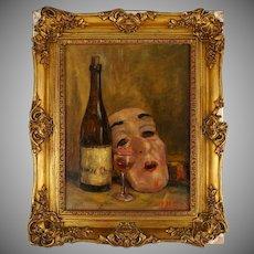 Still Life Painting of Theater Mask & Wine Bottle, Signed Oil on Canvas, Ornate Gilt Frame