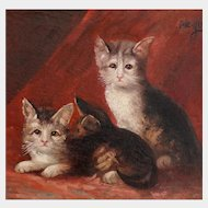 Three Kittens Portrait,  Antique Oil Painting, Cats on a Red Background, Signed & Dated 1911