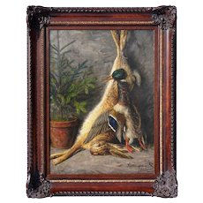 Antique Still Life Painting, German Artist Signed & Dated, Fruits of the Hunt, Hare & Duck Wild Game