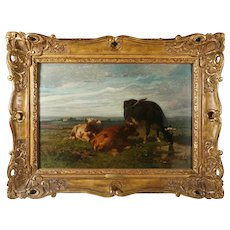 Antique Belgian Oil Painting of Cows in Pasture by Louis Robbe (1806-1877)