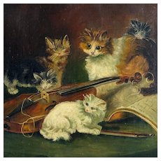 Signed French Oil on Canvas Portrait, Playful Kittens on a Violin / Musical & Cat Genre Painting