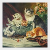 Signed French Oil on Canvas Portrait of Playful Kittens, Roses & Butterfly, Cat Genre Painting