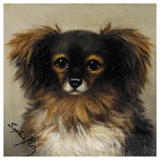 Sophie Pir Painting Papillon Dog Oil on Canvas 19th Century Belgian Artist