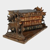 Antique Black Forest Hand Carved Wood Book Rack, Holder, Stand, Country Cabin Farmhouse Decor