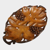 Swiss Black Forest Hand Carved Solid Wood Tray, Signed Ruef Brothers Brienz, Grapes & Leaves