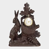 Antique Black Forest Hand Carved Wood Pocket Watch Holder Display Stand, Rabbit / Hare Figural